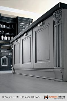Beautiful detail shot of the craftsmanship of Aran Cucine custom kitchen cabinets in the Imperial collection.