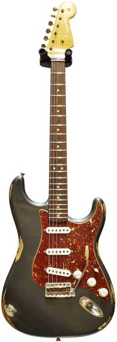 Fender Custom Shop 1962 Mid Boost Strat Heavy Relic Charcoal Frost Metallic