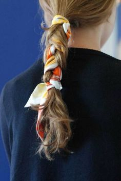 scarf hair tie, ponytail with scarf