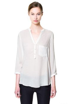White V Neck Long Sleeve Buttons Chiffon Blouse - Sheinside.com