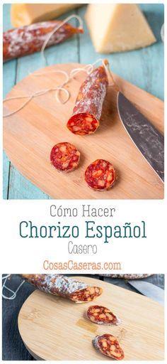 Homemade Chorizo, Homemade Sausage Recipes, Canning Recipes, Meat Recipes, Gourmet Recipes, Real Food Recipes, Spanish Chorizo Recipes, Spanish Sausage, How To Make Chorizo