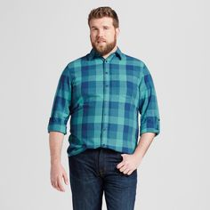 Men's Long Sleeve Button Down Shirt Blue Green Buffalo Plaid 2XBT - Mossimo Supply Co., Size: 2XB Tall