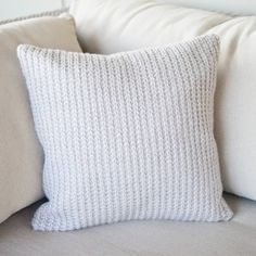Our Knitted cushion cover measures 35cm x 35cm.  Each cover is made of a knitted front and has an envelope style fabric back finished with three snap buttons. Available in Sterling Grey and Blush, with 35cm inserts available for purchase.  Each piece is handmade by Cotton