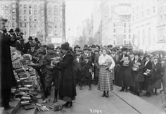 Women from Hunter College donate 3,500 books to the New York Public Library, 1918.