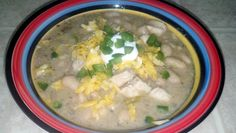 """White Chicken Chili - """"This recipe satisfied even my picky eaters! And it's relatively healthy. A one cup serving has about 220 calories and about 7 grams of fat."""" @allthecooks #recipe"""