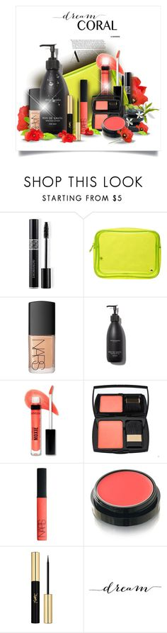 """Dream Coral"" by rockreborn ❤ liked on Polyvore featuring beauty, Christian Dior, Stephanie Johnson, NARS Cosmetics, Bare Escentuals, Lancôme, Max Factor, Yves Saint Laurent, WALL and polyvorecommunity"