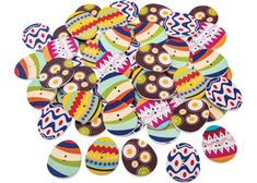 Wooden Easter egg buttons with multi-coloured printed designs. The designs include stripes, circles, zig-zags and more! Each button is white on the reverse side. Children can glue these buttons to wood, papier mache, paper and also stitch them to fabric. These buttons will add colour to your seasonal craft. Add them to Easter hats or displays to liven up the classroom. Buttons are a beautiful embellishment for your crafts.
