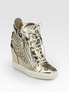 Giuseppe Zanotti Platino Studded Metallic Leather Wedge Sneakers