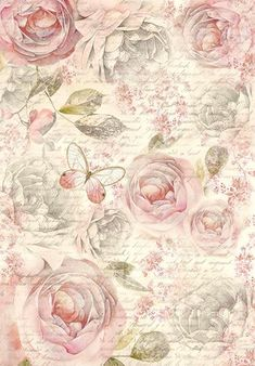 """Motiv Strohseide """"Shabby Rose"""" mit Rosen-Motiv in Pastell-Tönen Best Picture For Decoupage techniek For Your Taste You are looking for something, and it is going to tell you exactly what you are looki Decoupage Vintage, Papel Vintage, Floral Vintage, Vintage Diy, Shabby Vintage, Vintage Paper, Vintage Flowers, Vintage Prints, Decoupage Art"""