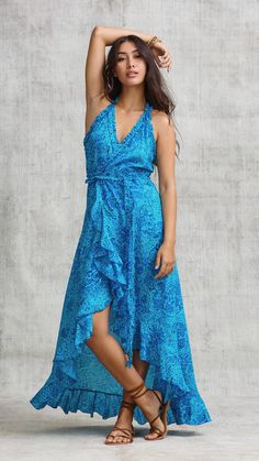 298ddd52abfdc9 Poupette St Barth · Products · LONG DRESS TAMARA RUFFLED - BLUE PALM
