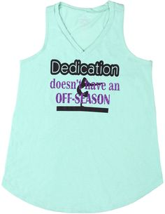 Gymnastics is a year-round sport, and this mint tank top shouts what all gymnasts know. It proudly proclaims that 'Dedication doesn't have an Off-season' in black vinyl and purple glitter. Tank top is cotton. Black Girl Short Hairstyles, Cute Girls Hairstyles, School Hairstyles, Everyday Hairstyles, Prom Hairstyles, Gymnastics Hair, Gymnastics Shirts, Gymnastics Outfits, Braided Ponytail Hairstyles
