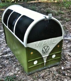 Freshly painted VW bus mailbox! So loving it!!