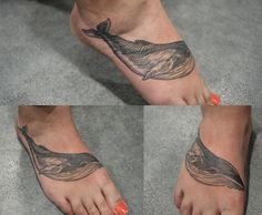 Tatouage par Sophie Hedon, https://www.facebook.com/fleurintestinale , #tattoo #baleine #gravure #pied #ink