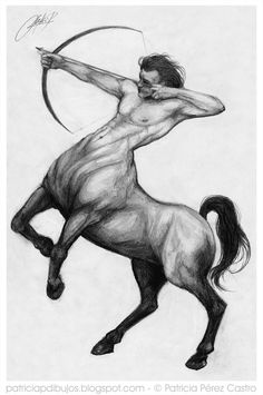 Greek Creatures, Fantasy Creatures, Mythical Creatures, Gothic Drawings, Dark Art Drawings, Sagittarius Symbol, Desenho Tattoo, Zodiac Art, Greek Art
