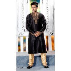 Black Zari Art Silk Embroidered Kurta Pajama$70.00