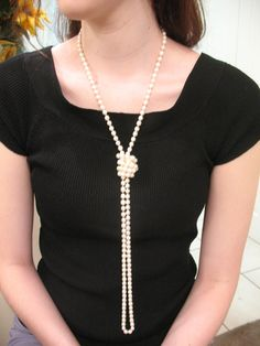 Long Pearl Necklace. $38.00, via Etsy.