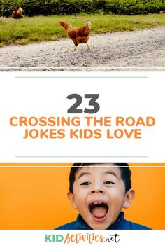 A collection of 23 funny crossing the road jokes for kids. These jokes are appropriate for school, the dinner table, and anywhere in-between. Funny Riddles, Funny Jokes For Kids, Silly Jokes, Funny Knock Knock Jokes, Brain Teasers For Kids, Food Jokes, Cheesy Jokes, Disney Jokes, Kids Laughing