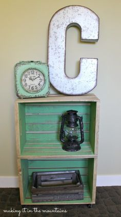 Making It in the Mountains blog | The Great Crate Challenge - 10 blogs : 1 crate | Wooden Crate Bedside Table | driftwood stain and green chalk paint