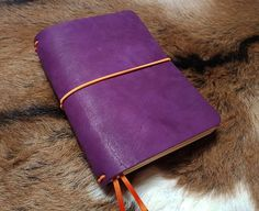 """FLEXI(""""M"""")-purple genuine cow-leather notebook+orange elastic band Leather Notebook, Leather Journal, Purple Cow, Personal Organizer, Notebook Covers, Leather Cover, Cow Leather, Cool Suits, Band"""