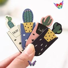 Set of 6 Cactus Magnetic Bookmark 6 Cacti Bookmarks | Etsy Set of 6 Cactus Magnetic Bookmark, 6 Cacti Bookmarks, Succulent Page Holder Clip Bookmark,Book Lover<br> If you have a time frame, please contact me first to find out the delivery time. The package is sent from China and can go up to 3 weeks. THANK YOU! Want to make a cute gift to the one who loves succulents and cacti? Check out this 6 Cactus Magnetic Bookmark Set! - cute design will add cuteness to your books and planners - 6… Bookmarks Diy Kids, Bookmarks For Books, Magnetic Bookmarks, Book Lovers Gifts, Gift For Lover, Book Stationery, Page Marker, Kawaii, Gift Ideas