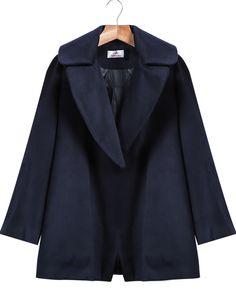 Shop Navy Lapel Long Sleeve Loose Woolen Coat online. Sheinside offers Navy Lapel Long Sleeve Loose Woolen Coat & more to fit your fashionable needs. Free Shipping Worldwide!