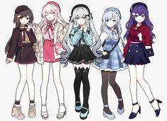 Manga Clothes, Drawing Anime Clothes, Anime Girl Drawings, Cute Drawings, Dress Drawing, Anime Girl Dress, Manga Anime Girl, Anime Girl Cute, Anime Chibi