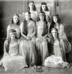 Strangely, and beautifully, oxidized photo of several young ladies, c.1915