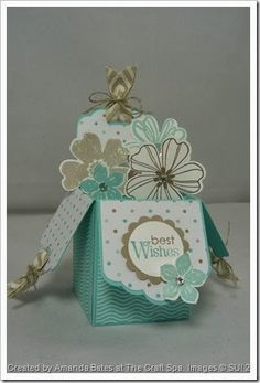 """3/3/2014; Amanda Bates at 'The Craft Spa' blog; Tag Topper Box Card tutorial; Flower Shop, Petite Petals and Petite Pairs stamp sets; Punches:  Scalloped Tag Topper Punch, Petite Petals, Pansy, 1"""" Circle, 1-1/4"""" Scallop Circle; excellent photo tutorial with written directions"""