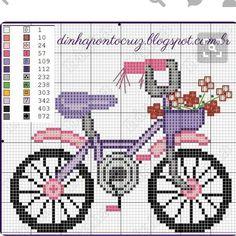 Pretty Cute Bike Cross Stitch or Perler Bead Pattern Mini Cross Stitch, Cross Stitch Samplers, Cross Stitch Charts, Cross Stitch Designs, Cross Stitching, Cross Stitch Embroidery, Embroidery Patterns, Hand Embroidery, Cross Stitch Patterns