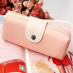 korean candy color pencil case PU leather pencil bag for girl stationery estojo escolar school supplies