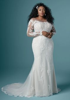 Plus Wedding Dresses, Maggie Sottero Wedding Dresses, Cute Wedding Dress, Wedding Dress Styles, Plus Size Wedding Dresses With Sleeves, Elegant Bridesmaid Dresses, Formal Dresses, Curvy Bride, Long Sleeve Wedding