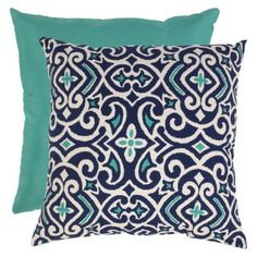"""Damask Square Toss Pillow Collection (in Blue/White, 23x23"""") (Target)"""