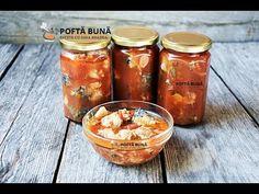 Conserva de peste in sos tomat, reteta pentru iarna - YouTube Canning Pickles, Romanian Food, Romanian Recipes, Preserving Food, Preserves, Celery, Carne, Seafood, Food And Drink