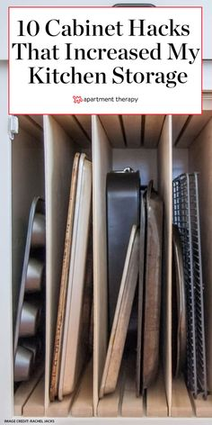 Here's How Hidden Cabinet Hacks Dramatically Increased My Kitchen Storage Behind-the-doors ways to make the most of your current kitchen. Kitchen Organisation, Kitchen Cabinet Storage, Kitchen Storage Solutions, Kitchen Cabinet Design, Clever Kitchen Storage, Storage Cabinets For Kitchen, Kitchen Tips, Kitchen Life Hacks, Under Cabinet Storage
