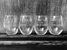 Game of Thrones Wine Glasses Etched Quotes Set of by IntegrityArt