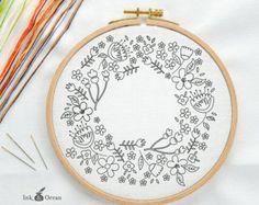 Teacup vintage design Digital hand embroidery by inkandocean