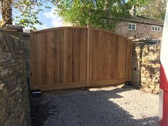 Bow Top Wooden Driveway Gates, Redwood And Siberian Larch Wooden Gates, Idigbo W. Bow Top Wooden D