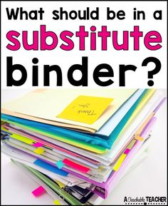 This substitute teacher binder is so organized and helpful when you are sick and rushing for emergency sub plans! Have all the info a substitute teacher needs in one place. Their questions answered and ready for your sub so you neither of you have to stre Substitute Teacher Binder, Substitute Folder, Sub Binder, Subsitute Teacher, Teacher Organization, Teacher Hacks, Teacher Stuff, Organized Teacher, Teacher Supplies