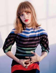 Bella Heathcote: Block colours that clash to create a quirky, vintage look yet feminine. #Stripe