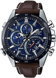 G-Shock Men's Solar Analog-Digital Edifice Brown Leather Strap Watch Men's Watches, Watches Online, Cool Watches, Jewelry Watches, Casio Edifice, G Shock Men, Bluetooth Watch, Solar Watch, Man Stuff