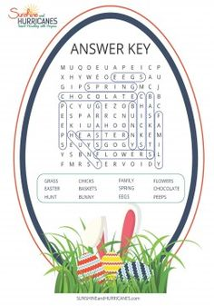 Easter Word Search Free Printable Answer Key. SunshineandHurricanes.com