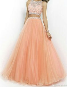 SeasonMall Women's Prom Gown Two Parts Bateau Beaded Bodice Tulle Dresses - Clothing 4 Womens Prom Dresses Two Piece, Pink Prom Dresses, Sweet 16 Dresses, Beautiful Prom Dresses, Two Piece Dress, Ball Dresses, Homecoming Dresses, Cute Dresses, Quinceanera Dresses