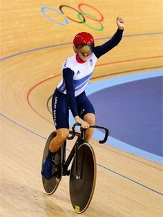Victoria Pendleton of Great Britain celebrates after her victory. #Olympics Olympics