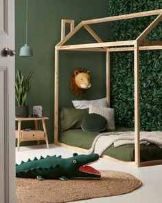 Baby Room Ideas 38913 children's room deco jungle trophy lion sage green paint h. - Baby Room Ideas 38913 children's room deco jungle trophy lion sage green paint hut bed in little - Bedroom Green, Baby Bedroom, Nursery Room, Boys Jungle Bedroom, Boy Toddler Bedroom, Jungle Theme Bedrooms, Toddler Boy Room Ideas, Safari Bedroom, Jungle Theme Nursery