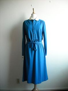 Vintage Blue Peter Pan Collar Dress by Baxtervintage on Etsy, $30.00