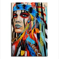Abstract Native American Indian Canvas Art