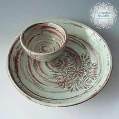 Chip and Dip Set Chip and Dip Bowl Ceramic Chip and by BungalowSPC