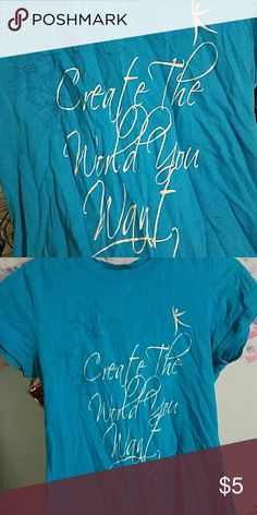 """""""Create the world you want"""" tshirt Raspberry blue, white letters, 100% organic cotton Tops Tees - Short Sleeve"""