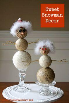 DIY Rustic Snowman craft #snowman