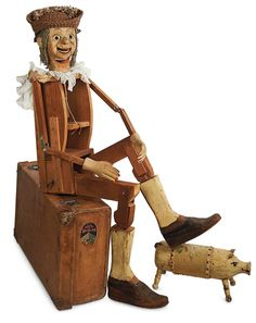 The Blackler Collection (Part 2 of set): 324 Large-Size American Wooden Ventriloquist Doll with Lettered Provenance Ventriloquist Doll, Wooden Dolls, Retro Toys, Red Riding Hood, Antique Dolls, Puppets, Folk Art, American Dolls, Automata